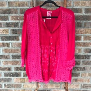 Johnny Was Hot Pink Buttoned Blouse - Size Large